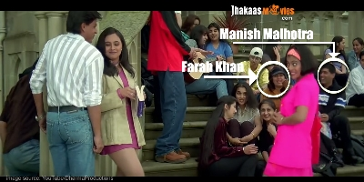 Farah Khan and Manish Malhotra in one of the scenes in Kuch Kuch Hota Hai